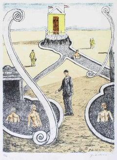 L'Ospite dei Bagnanti Misteriosi - Original Lithograph by G. De Chirico - 1969