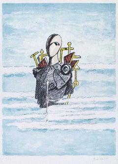 Trovatore tra le nubi - Original Lithograph by Giorgio de Chirico - 1973