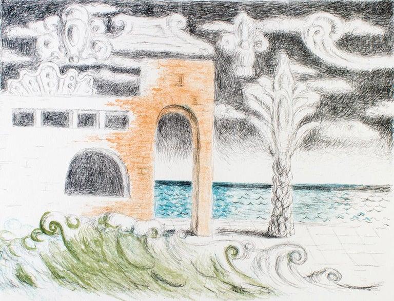 Villa sul Mare - Original Lithograph by Giorgio De Chirico For Sale 2