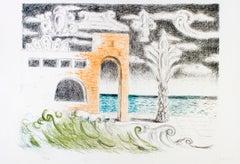 Villa sul Mare - Original Lithograph by Giorgio De Chirico