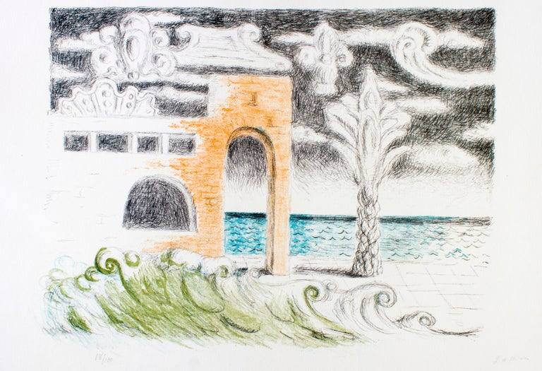 """""""Villa sul mare"""" is a rare original lithograph realized by Giorgio de Chirico in 1929. It comes from the Suite """"Metamorphosis"""". It is hand signed and numbered. This is an edition of 100 prints.  It was published in the general catalog """"G. de"""