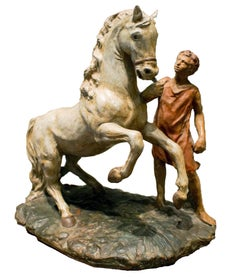 Horse and Boy - Original Terracotta Sculpture Hand Painted by Giorgio De Chirico