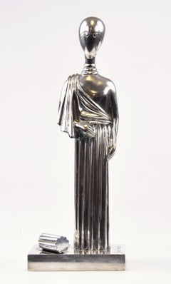 The Muse - Silvered Brass Sculpture by Giorgio De Chirico