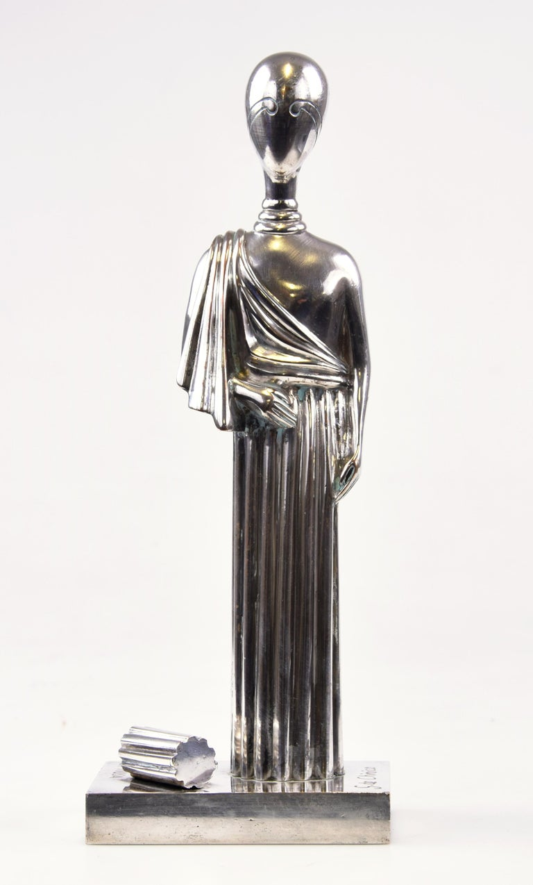 """""""La Musa"""" is an original sculpture realized by Giorgio de Chirico.   Silvered Brass.  Signed on the base: Giorgio De Chirico.   One of the very few Artist' Proofs out of a numbered edition of 100. E.A. is also impressed.  Foundry: Fratelli Bonvicini"""