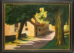 Landscape with House (Villa Borghese) - Oil on Table by Giorgio de Vincenzi