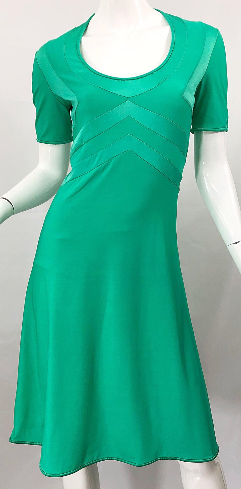 Giorgio di Sant Angelo Kelly Green Slinky Bodysuit Vintage 70s Jersey Dress For Sale 6