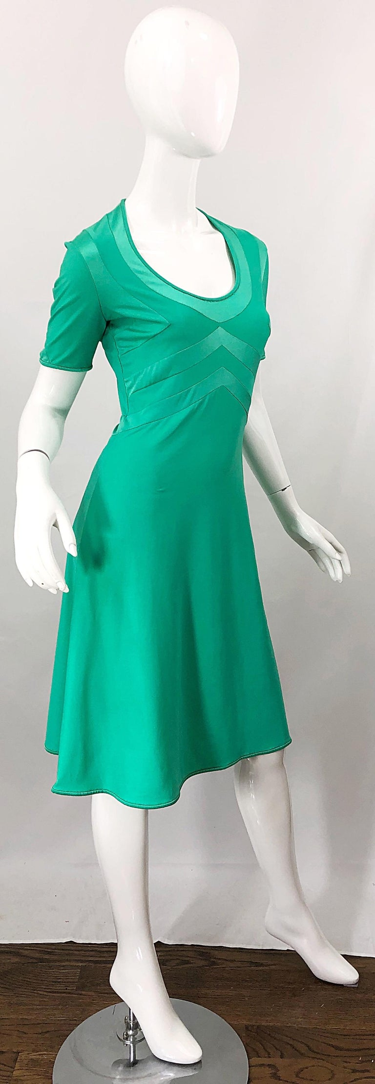 Giorgio di Sant Angelo Kelly Green Slinky Bodysuit Vintage 70s Jersey Dress For Sale 7