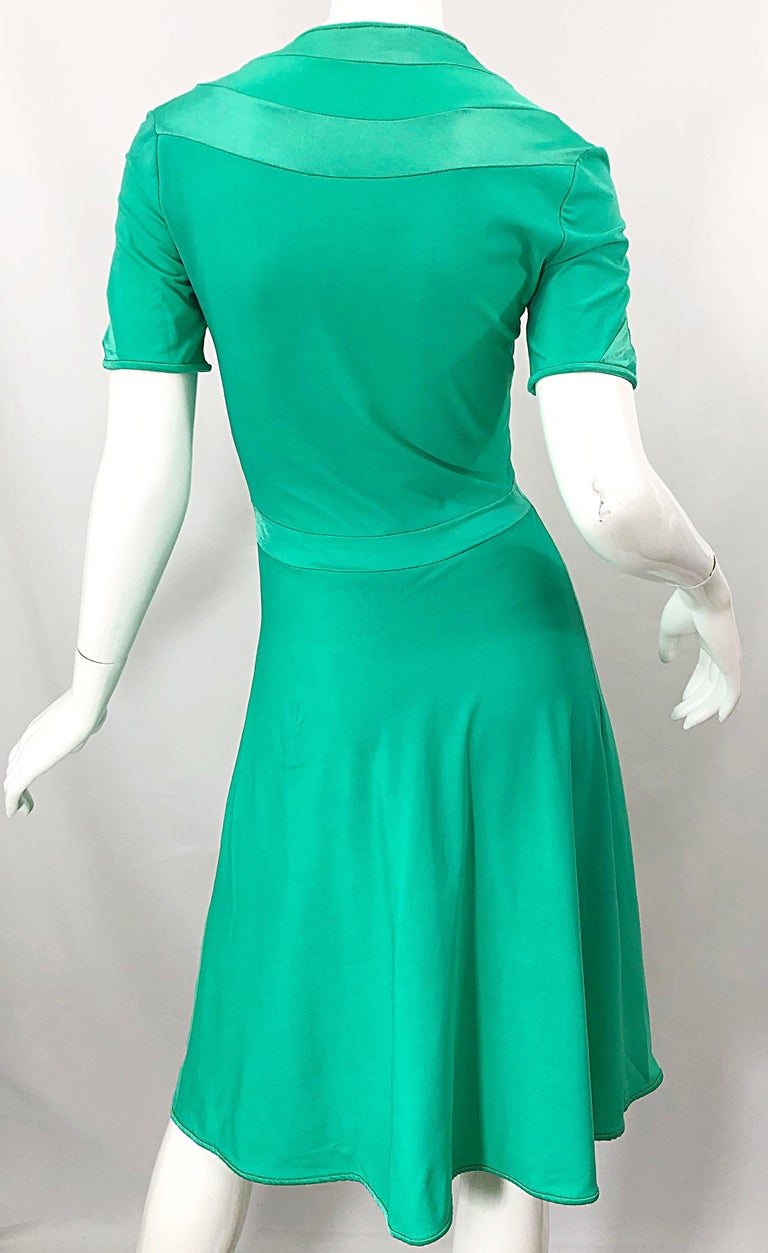Giorgio di Sant Angelo Kelly Green Slinky Bodysuit Vintage 70s Jersey Dress For Sale 8
