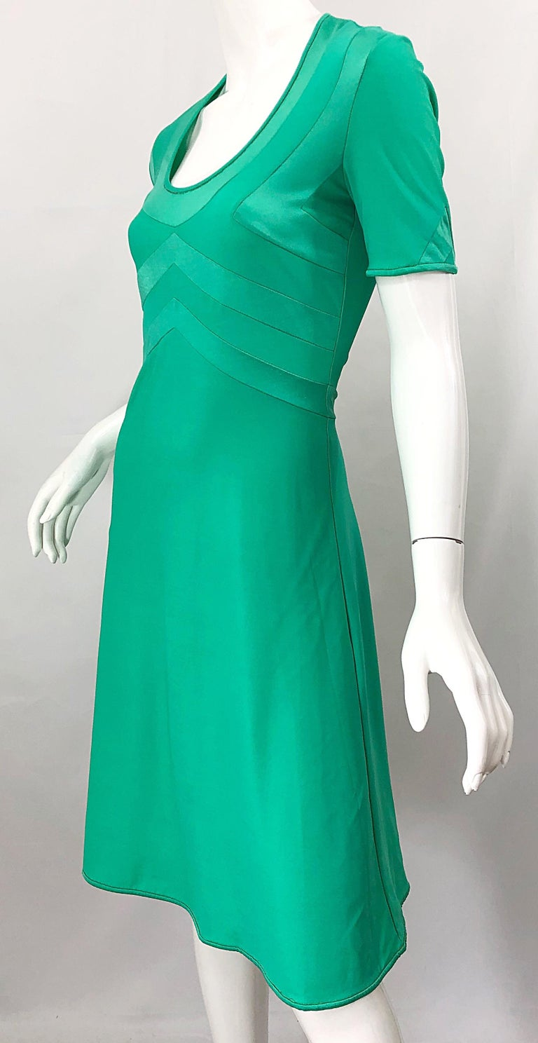 Giorgio di Sant Angelo Kelly Green Slinky Bodysuit Vintage 70s Jersey Dress For Sale 9