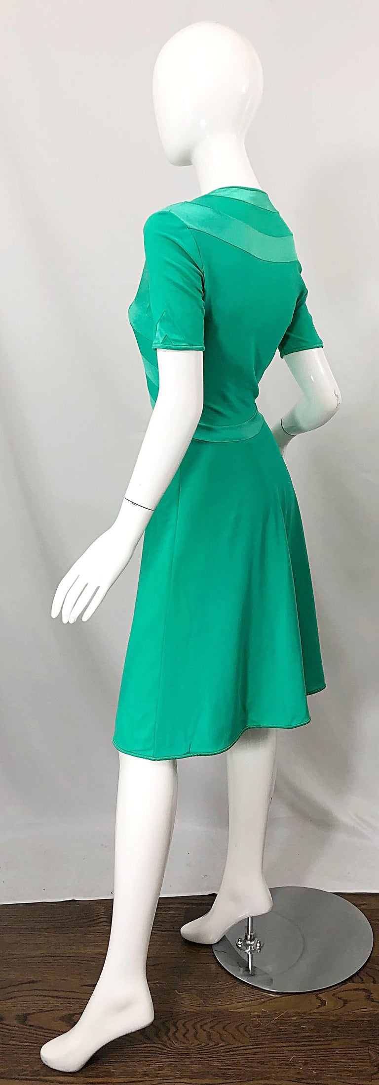 Giorgio di Sant Angelo Kelly Green Slinky Bodysuit Vintage 70s Jersey Dress For Sale 10