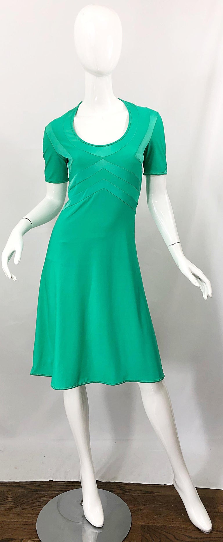 Giorgio di Sant Angelo Kelly Green Slinky Bodysuit Vintage 70s Jersey Dress For Sale 11