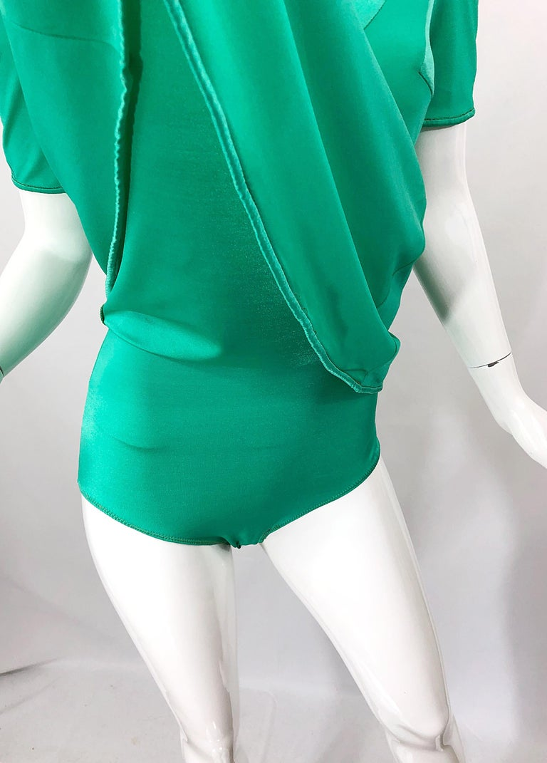 Giorgio di Sant Angelo Kelly Green Slinky Bodysuit Vintage 70s Jersey Dress In Excellent Condition For Sale In Chicago, IL