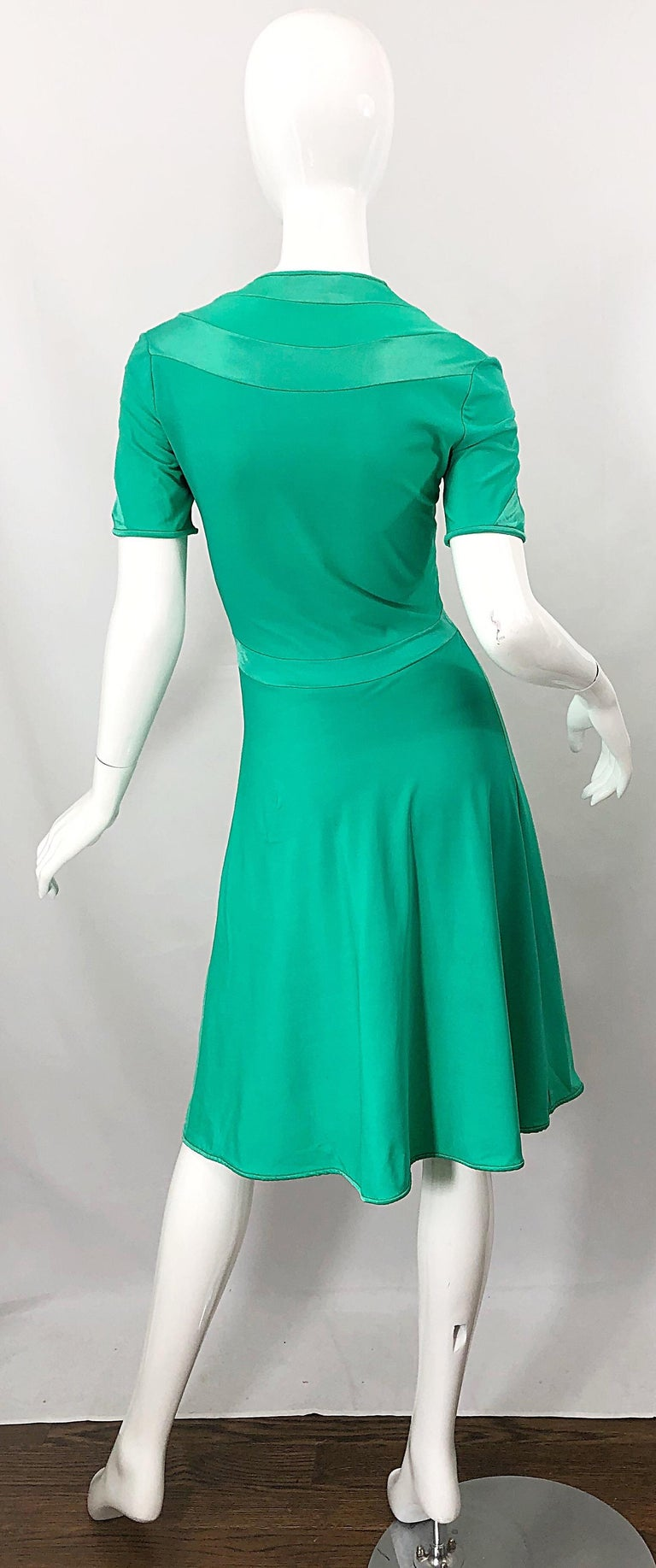 Women's Giorgio di Sant Angelo Kelly Green Slinky Bodysuit Vintage 70s Jersey Dress For Sale