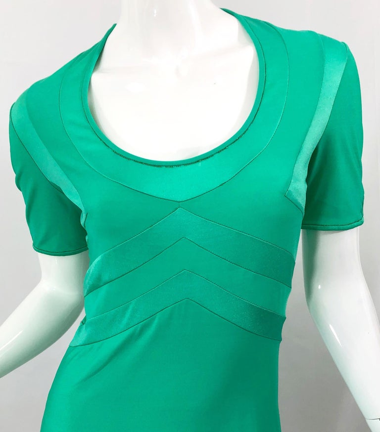 Giorgio di Sant Angelo Kelly Green Slinky Bodysuit Vintage 70s Jersey Dress For Sale 1