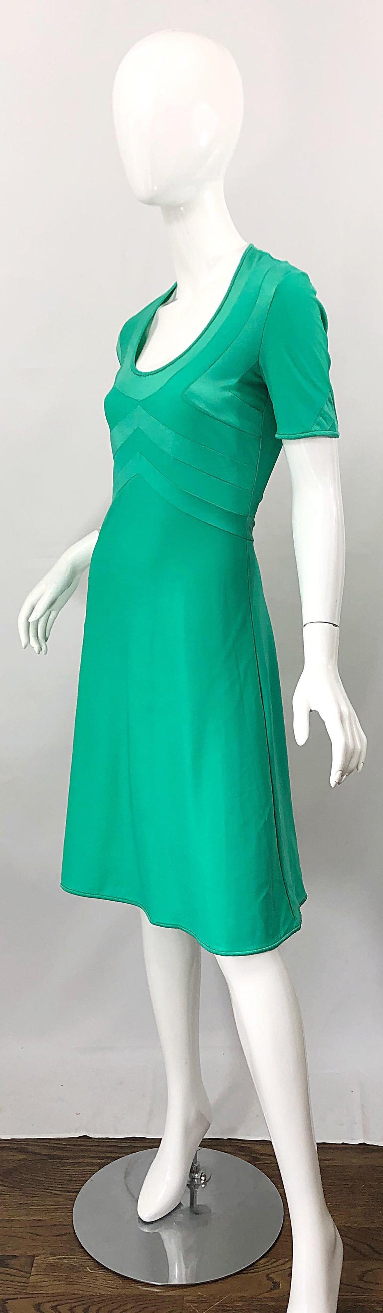 Giorgio di Sant Angelo Kelly Green Slinky Bodysuit Vintage 70s Jersey Dress For Sale 2