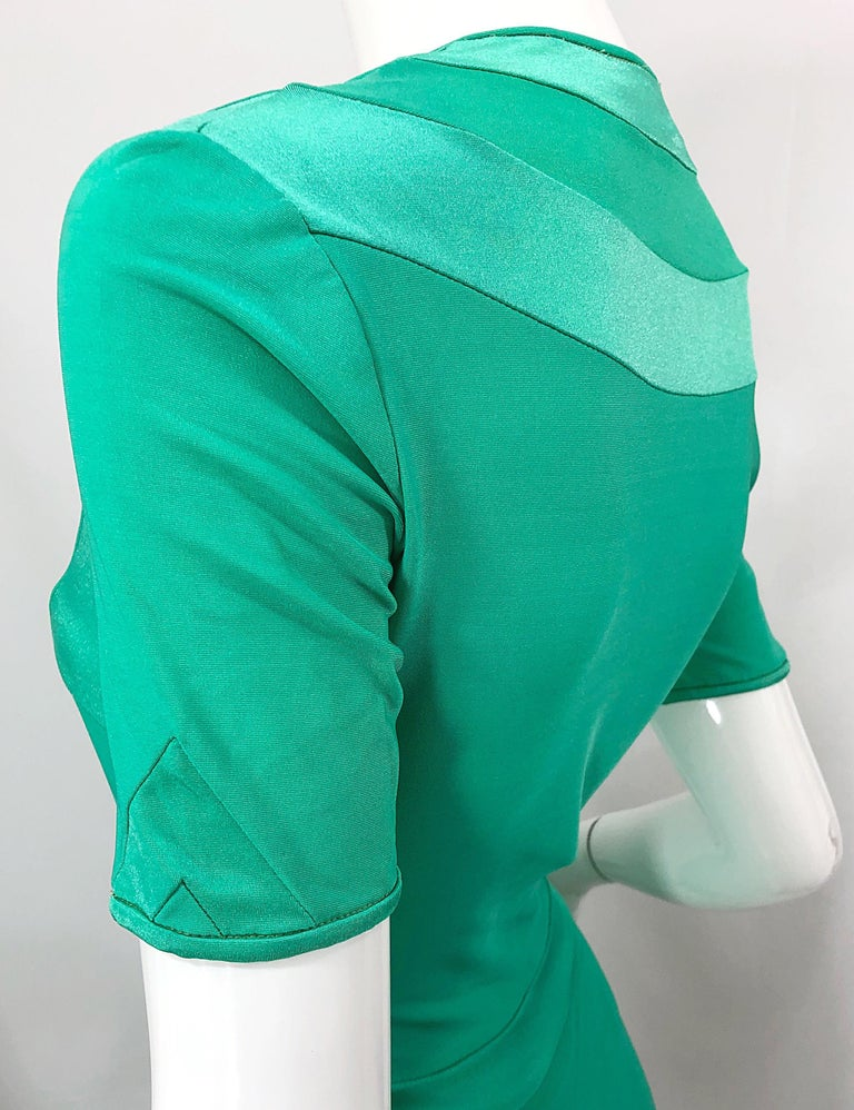 Giorgio di Sant Angelo Kelly Green Slinky Bodysuit Vintage 70s Jersey Dress For Sale 3