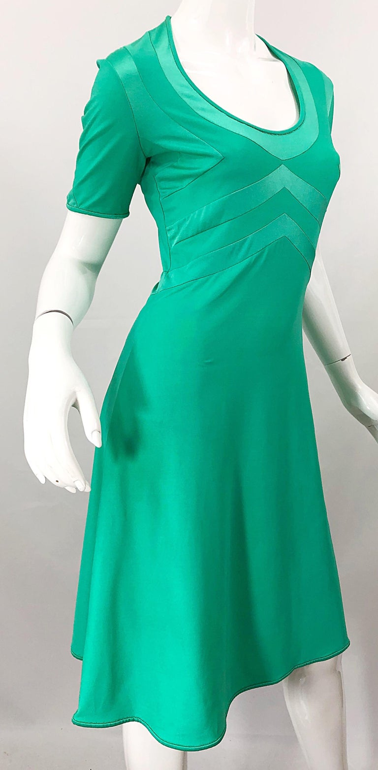 Giorgio di Sant Angelo Kelly Green Slinky Bodysuit Vintage 70s Jersey Dress For Sale 4