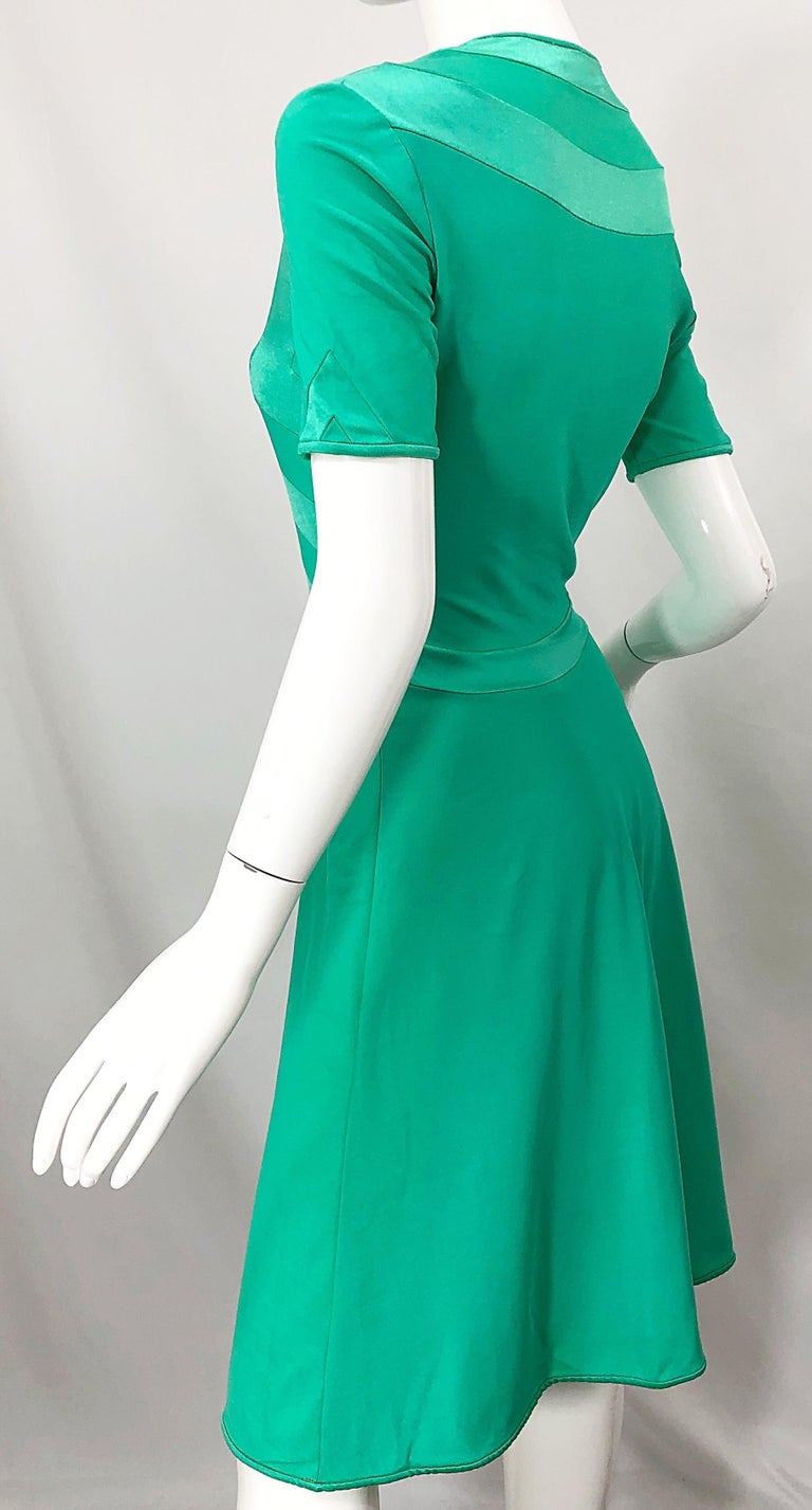 Giorgio di Sant Angelo Kelly Green Slinky Bodysuit Vintage 70s Jersey Dress For Sale 5