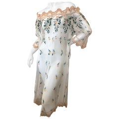 Giorgio di Sant'Angelo Sheer Embroidered Off the Shoulder Rich Hippie Dress