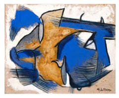 Blue and Yellow Composition - Original Oil Paint by Giorgio Lo Fermo - 2015