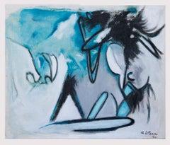 Blue Expressionism - Original Oil On Canvas by Giorgio Lo Fermo - 2020