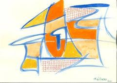 Blue Lines - Original Mixed Media by Giorgio Lo Fermo - 2020