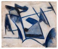 Blue Lines - Original Oil Paint by Giorgio Lo Fermo - 2015