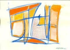 Blue Lines - Original  Tempera and Watercolor by Giorgio Lo Fermo - 2020
