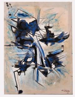 Blue Shape - Original Oil Paint by Giorgio Lo Fermo - 2020