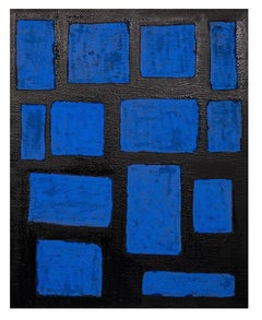 Blue Shapes - Original Oil Paint by Giorgio Lo Fermo - 2015