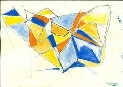 Blue Shapes - Original Tempera and Watercolor by Giorgio Lo Fermo - 2020