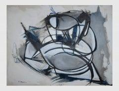 Grey Expressionism - Original Oil On Canvas by Giorgio Lo Fermo - 2021