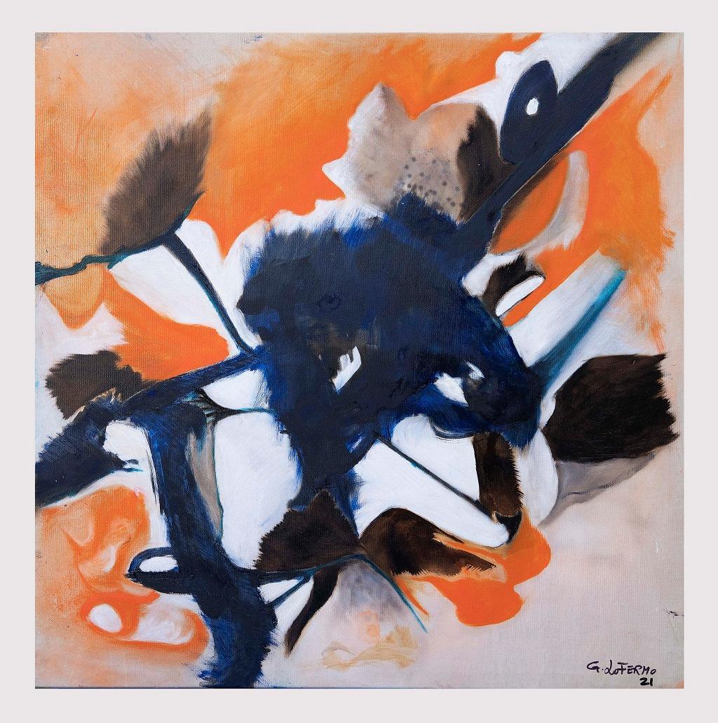 Orange Composition - Original Oil On Canvas by Giorgio Lo Fermo - 2021