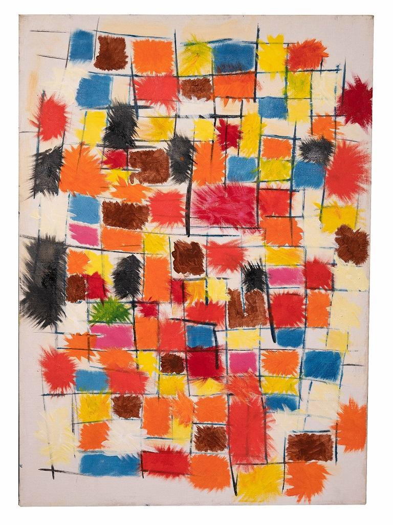 Reticulum is an original artwork realized by Giorgio Lo Fermo (b. 1947) in 2019.  Oil on canvas.  Hand signed and dated by the artist on the back.  Perfect conditions.  This gorgeous painting represents a polychrome grid that covers its entire