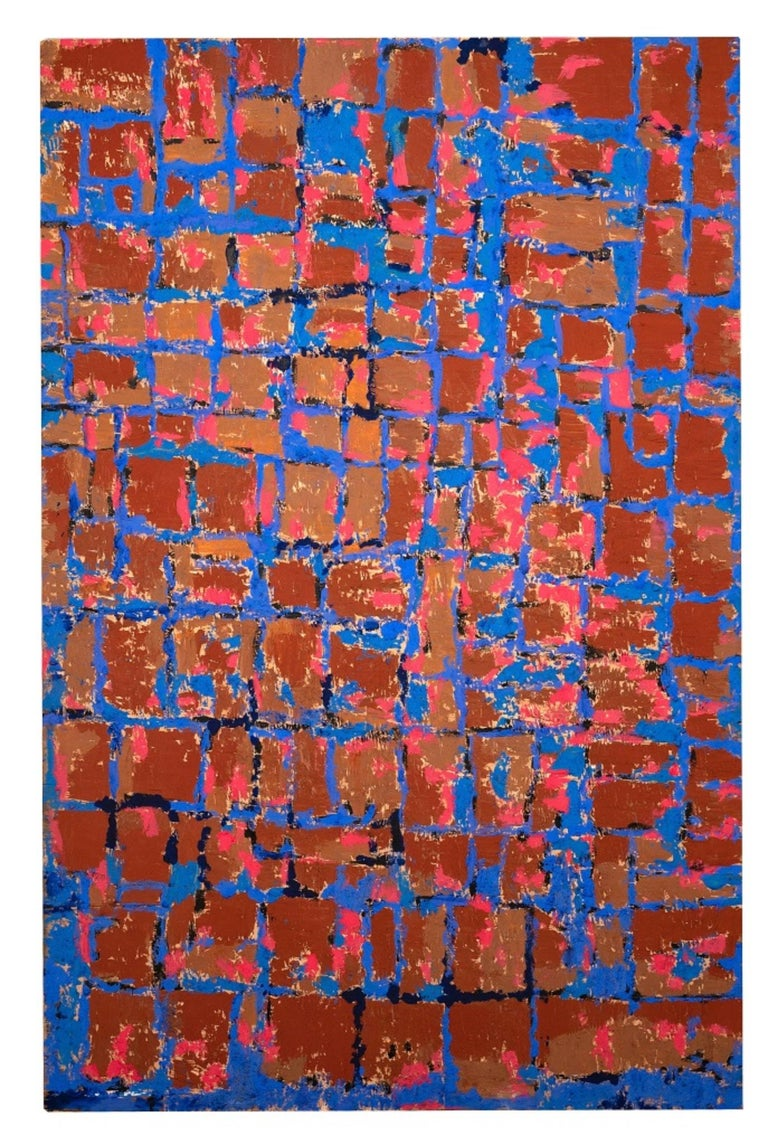 Reticulum is an original artwork realized by Giorgio Lo Fermo (b. 1947) in 2021.  Original Mixed Media on Plywood (oil painting, acrylic).  Hand-signed and dated on the back.  The artwork is a beautiful abstract artwork representing a beautiful
