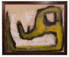 Yellow Shape - Original Oil Paint by Giorgio Lo Fermo - 2015