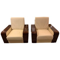 Giorgio Monte Carlo Collection Curly Sycamore and Leather Armchairs, a Pair
