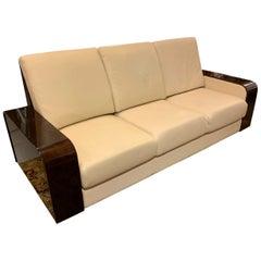Giorgio Monte Carlo Collection Curly Sycamore and Leather Sofa