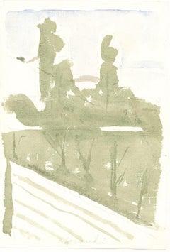 Diagonal Landscape  - Vintage Offset Print after Giorgio Morandi - 1973