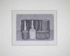 Still Life with Nine Objects - Original Etching by Giorgio Morandi- 1954