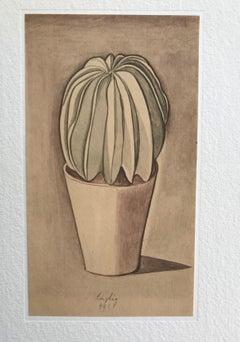 Vase with Plant - Vintage Offset Print after Giorgio Morandi - 1973