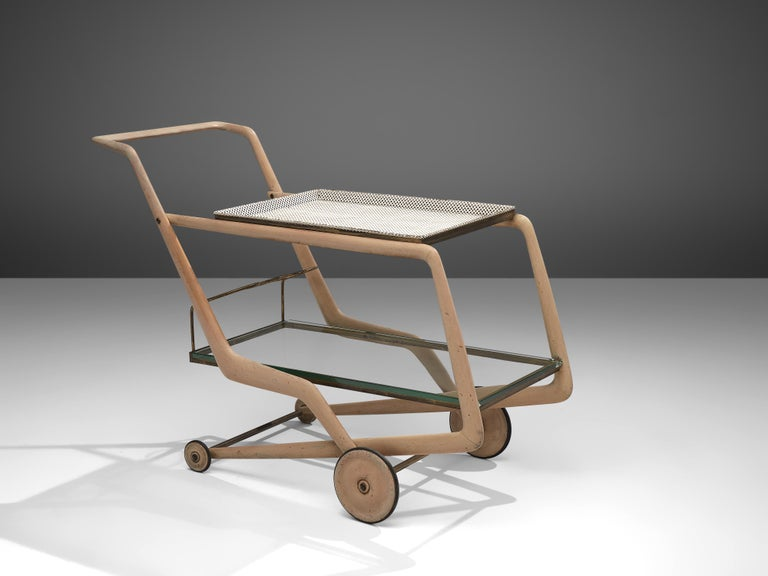 Giorgio Ramponi, bar cart, wood, metal, brass, glass, Italy, 1950s  This delicate trolley is executed in bright wood, white metal and glass. It features a vividly shaped frame with a wide, functional handle. The portable top tray in white metal is