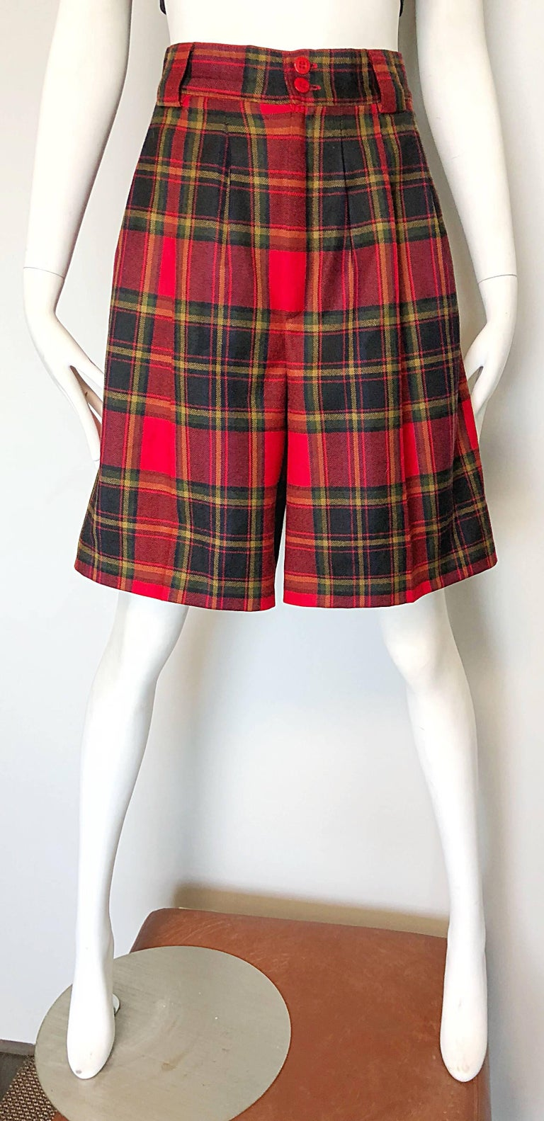 Brown Giorgio Sant Angelo 1980s Red Tartan Plaid Virgin Wool Vintage Culottes Shorts  For Sale