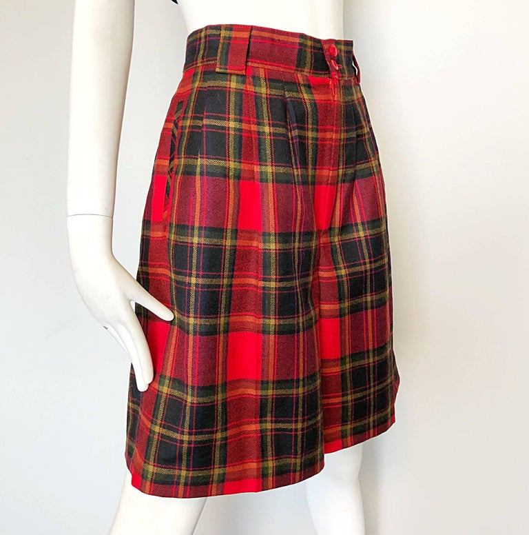 Giorgio Sant Angelo 1980s Red Tartan Plaid Virgin Wool Vintage Culottes Shorts  For Sale 1