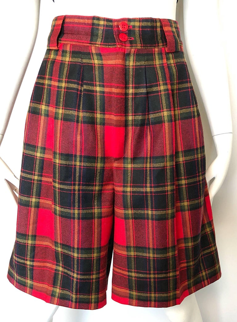 Giorgio Sant Angelo 1980s Red Tartan Plaid Virgin Wool Vintage Culottes Shorts  For Sale 4