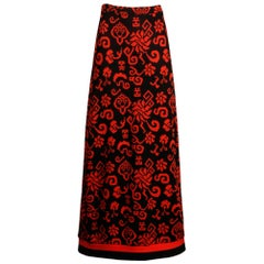 Giorgio Sant'Angelo 1970s Vintage Red + Black Knit Maxi Dress with Asian Design