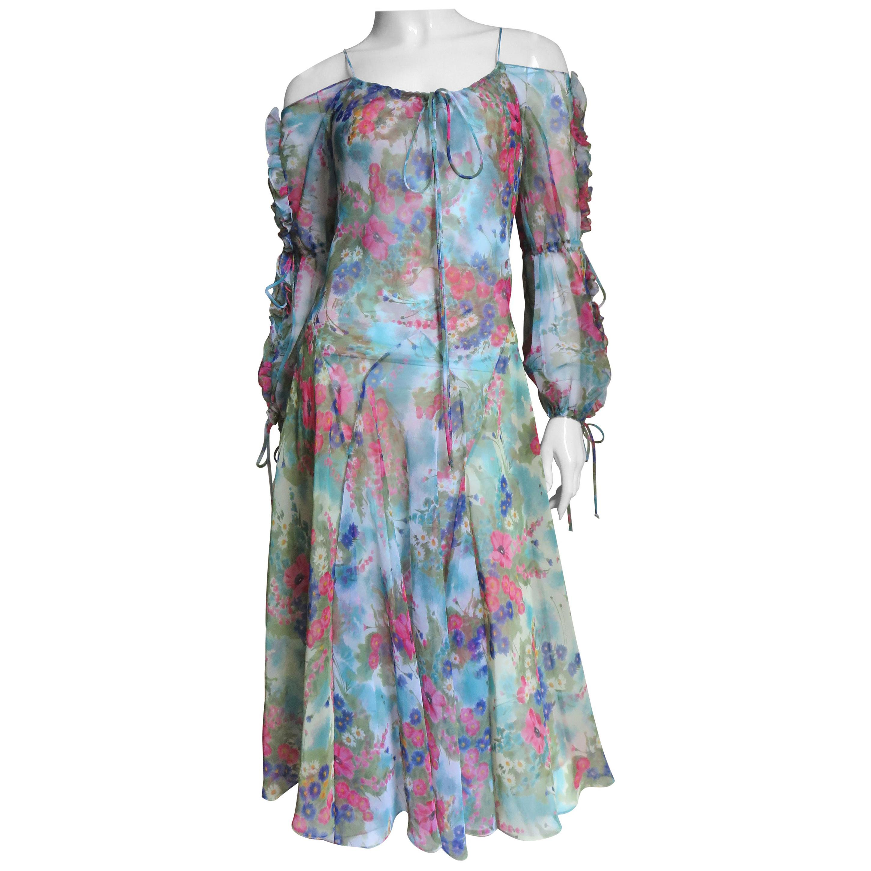 Giorgio Sant'Angelo Cold Shoulder Dress 1970s
