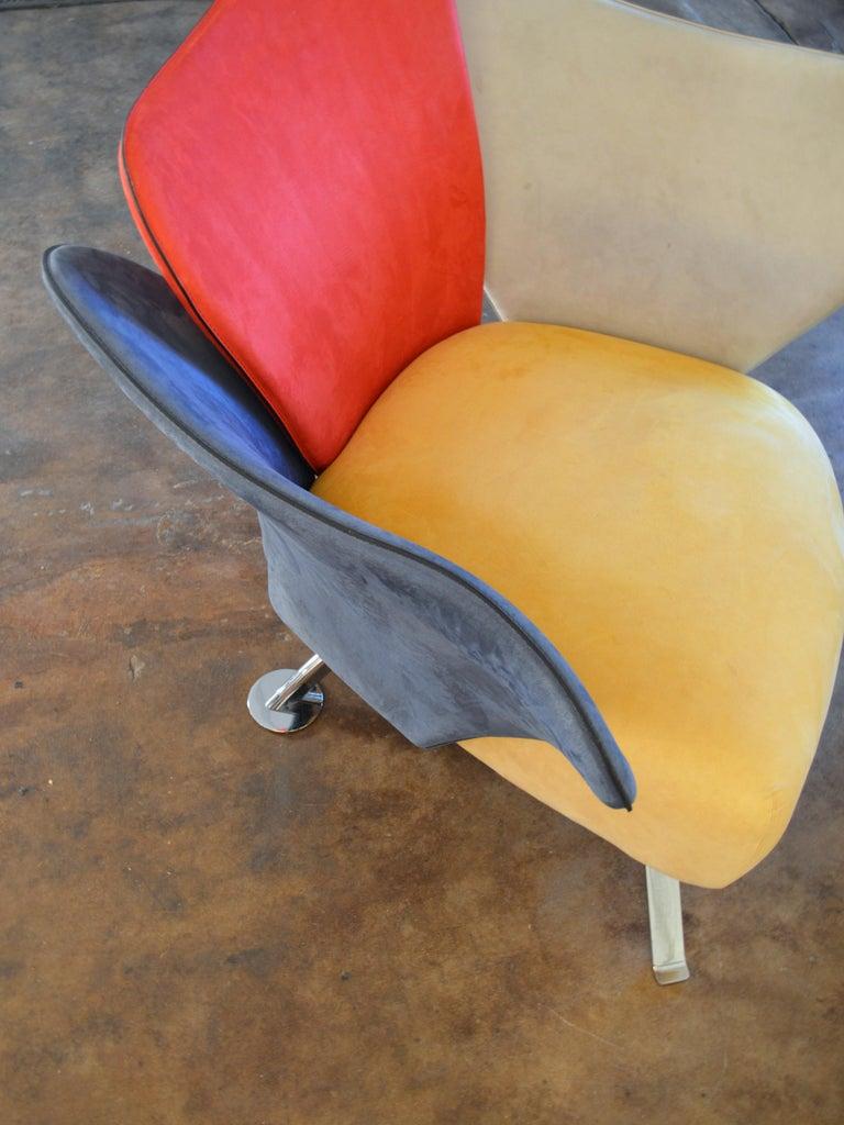 Giorgio Saporiti Post-Modern Suede Flower Chair by Il Loft For Sale 6