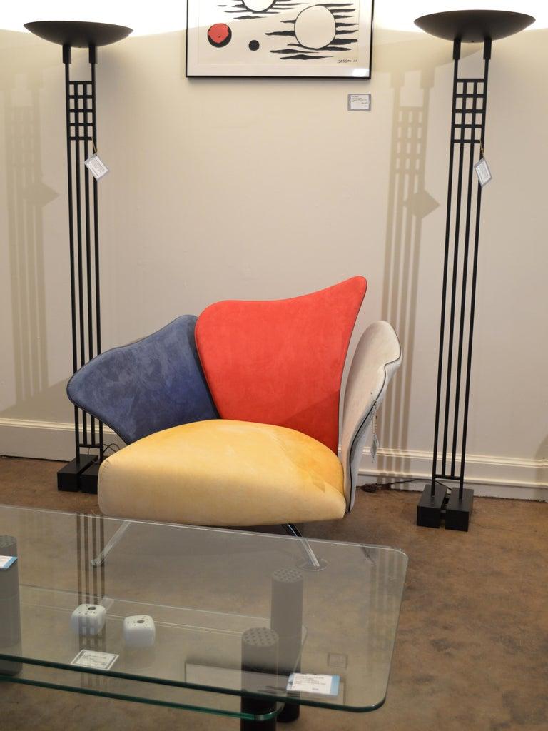 Giorgio Saporiti Post-Modern Suede Flower Chair by Il Loft For Sale 7