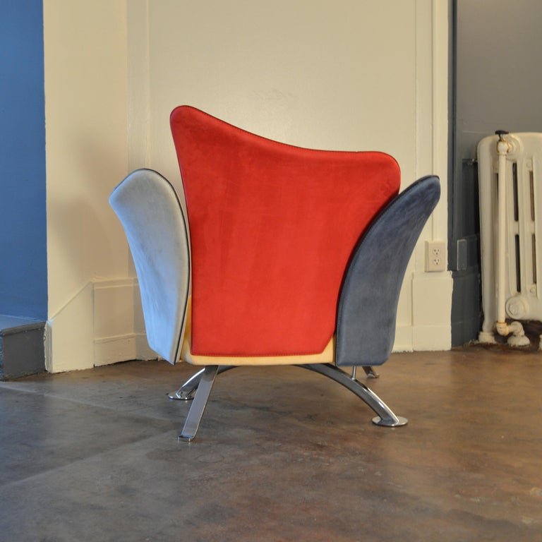 Italian Giorgio Saporiti Post-Modern Suede Flower Chair by Il Loft For Sale